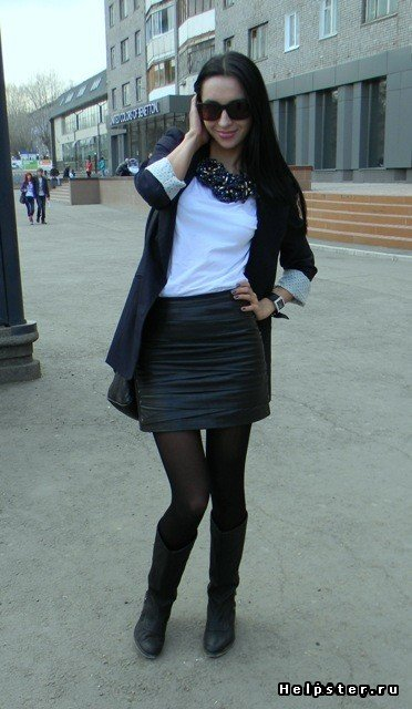 С чем носить черный блейзер с кожаными рукавами?Интересные образы? (фото внутри)