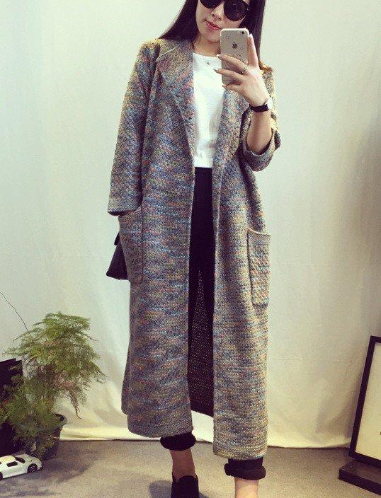 Серый вязаный длинный кардиган женский с накладными карманами  в интернет-магазине Шопоголик