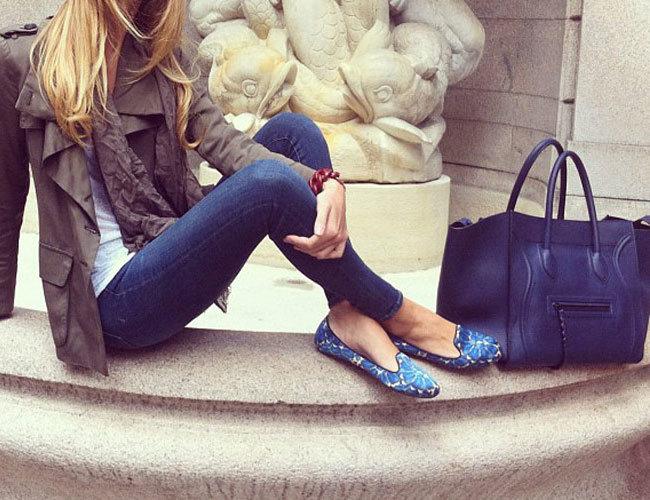 синие женские слиперы