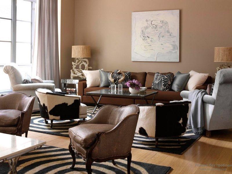 Современный интерьер в коричневых цветах