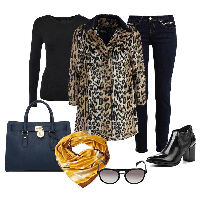 стильный модный женский лук: Шуба, Джинсы, Джемпер, Сумка, Ботильоны, Платок, Очки солнцезащитные