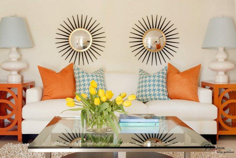 Теплый оранжевый создает уютный интерьер