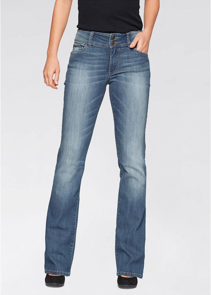 Универсальные джинсы-стретч с легкими потертостями - нежно-голубой, низкий рост K