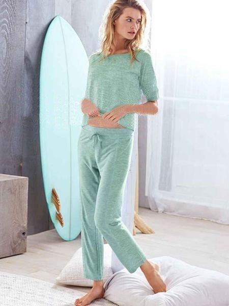 Зеленая пижама женская с завязками в интернет-магазине Шопоголик