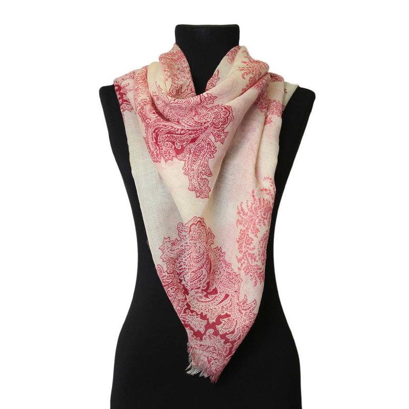 Женский платок с розовыми узорами Marina D`Este  49935 ― ВИП ПЛАТОК - итальянские платки и шарфы