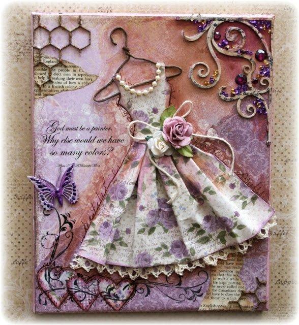 Поздравительная открытка с тканью