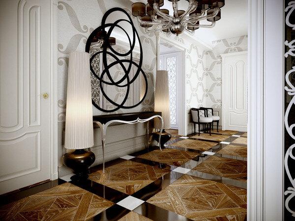 Белый коридор с серыми и коричневыми деталями в дизайне