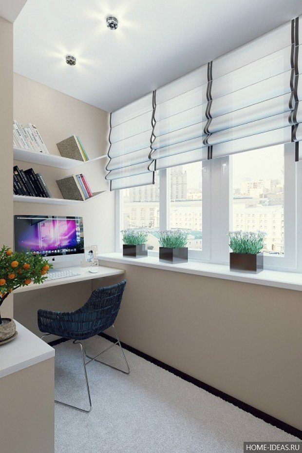 Советы по организации рабочего места на балконе, фото и рекомендации как сделать кабинет на балконе.