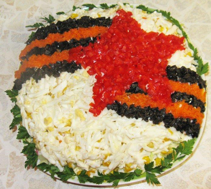 Вкусный и питательный салатик с интересной оригинальной подачей, его непременно оценит каждый представитель сильной половины.