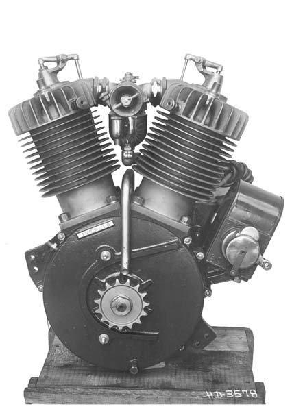 В 1911 была выпущена усовершенствованная модель двигателя V-twin. У нового двигателя было механическое управление впускным клапаном, в отличие от более ранних моделей, у которых впускной клапан открывался за счёт вакуума, создающегося в цилиндре. Объём нового двигателя был уменьшен до 49.48 кубических дюймов (810 см³), но за счёт более совершенной системы газораспределения мощность возросла почти в два раза. Большинство мотоциклов, выпущенных после 1913 года, оснащались этим новым двигателем.