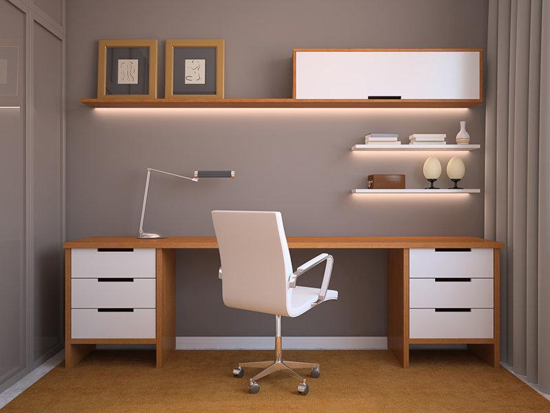 Домашний кабинет в современном стиле - Серые стены и светло коричневый стол