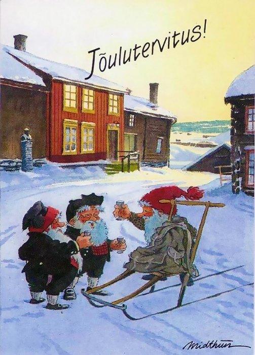 Финские открытки на рождество, поздравительная открытка марта