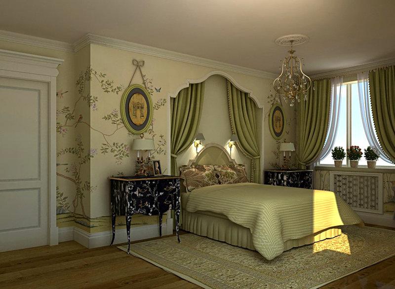 Зеленый дизайн спальни английский стиль