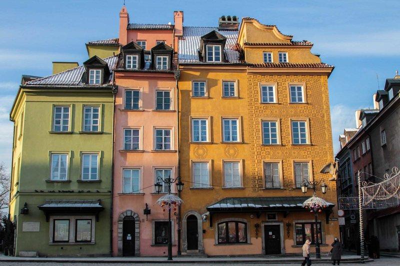 Старый город в Варшаве на Новый год.