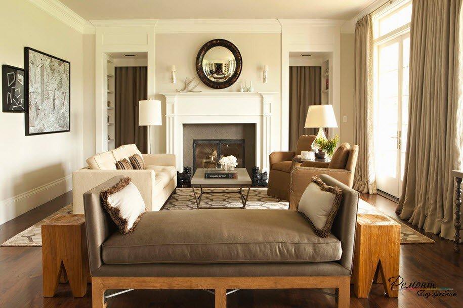 Дизайн гостиной комнаты в классическом стиле.