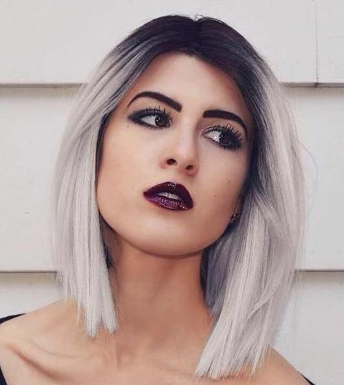 Чёрные корни белые волосы