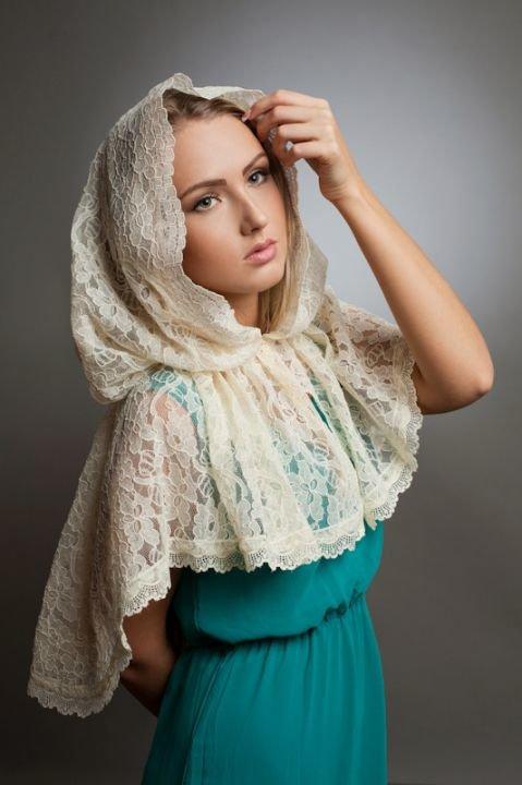 """Венчальный платок в церковь """"Роксана"""" - Ярмарка рукоделия"""