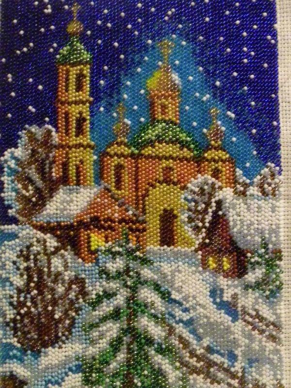 """Картина """"Зимняя ночь"""" biser.info - всё о бисере и бисерно..."""