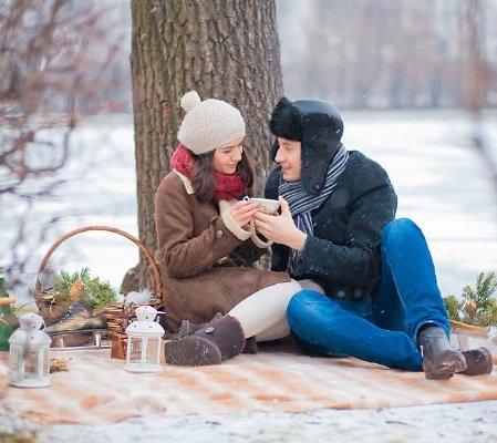 Парочек влюбленных, картинки пикник на природе зимой