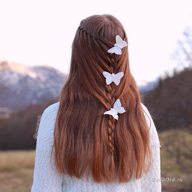 Коса с бабочками