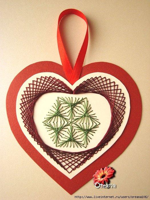 Открытка сердечко из ниток, открытки