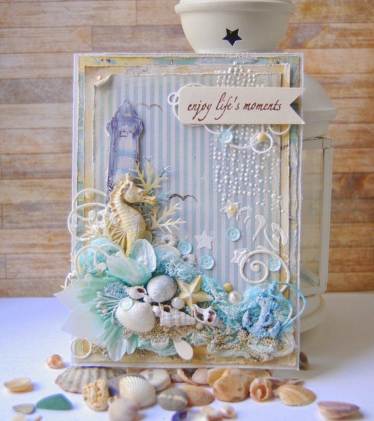 Картинки, скрап открытка в морском стиле
