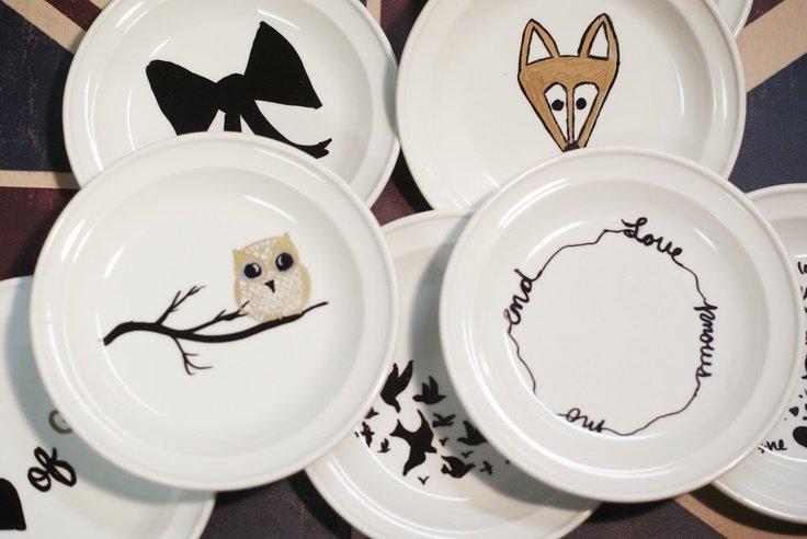 Днем, прикольные рисунки на тарелках