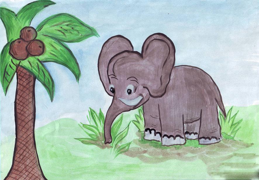 Детские рисунки слона