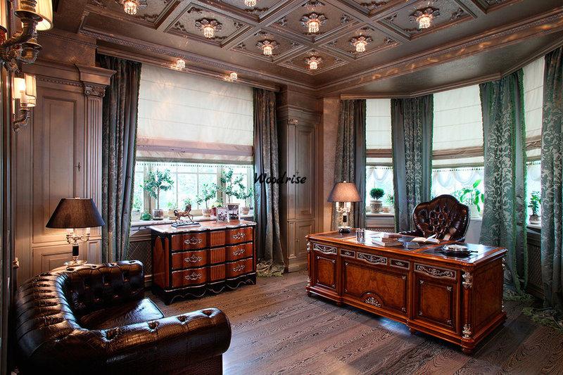 Угловой домашний кабинет с большими окнами и антикварной мебелью. Искусственный свет - исключительно холодный.