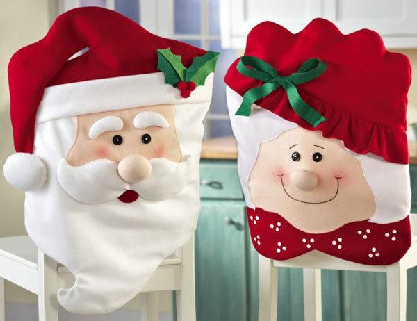 Новогодний Чехол на стул в виде Дедушки Мороза и его помощника Эльфа, превосходно украсит дом, но добавят они не холода, а тепла и уюта.