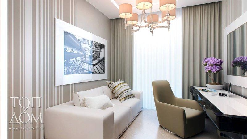 Домашний кабинет в современном стиле - В белом цвете (большое зашторенное окно)