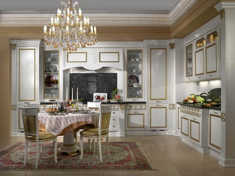 Дизайн интерьера кухни в стиле ампир.