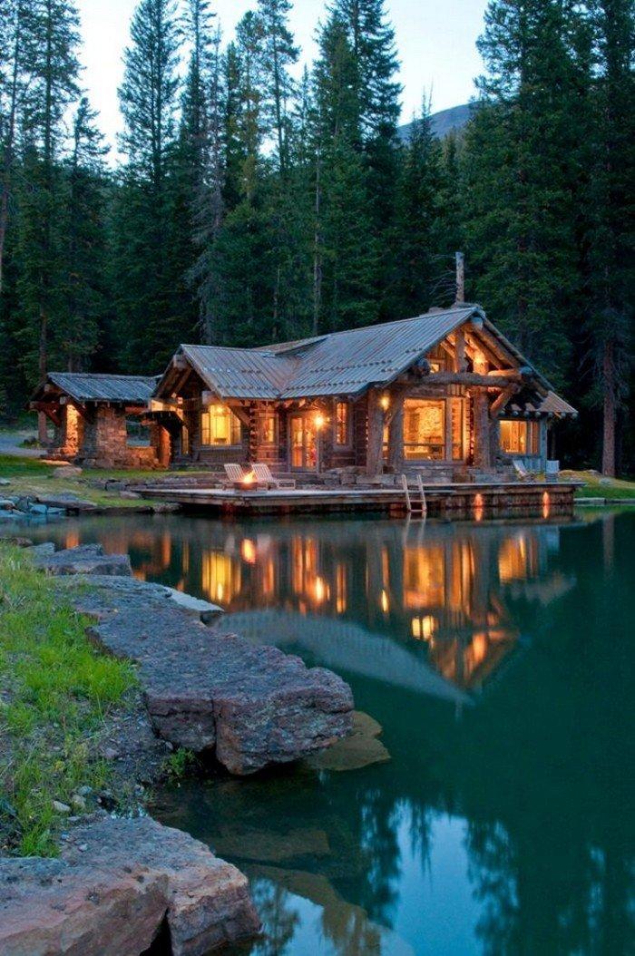 для красивое фото домика в лесу был