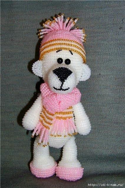 Мишка Снежок из бисера