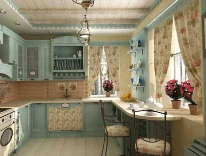 Кухонный интерьер в стиле шебби шик. Подбор отделочных материалов для потолка, стен и пола. Нюансы стиля shabby chic: цветовая гамма, мебель, освещение