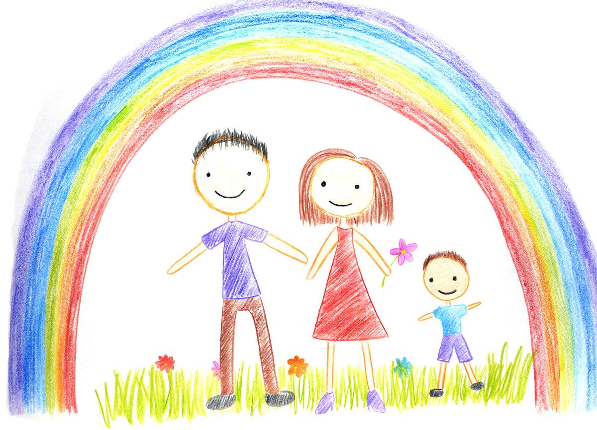 Сентября советские, картинка семейной жизни с радугой