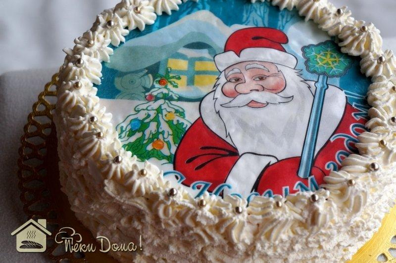 Новогодние картинки для торта на сахарной бумаге