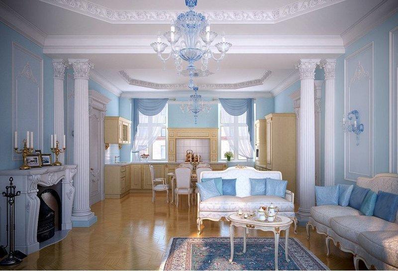 Дизайн потолка в гостиной совмещенной с кухней