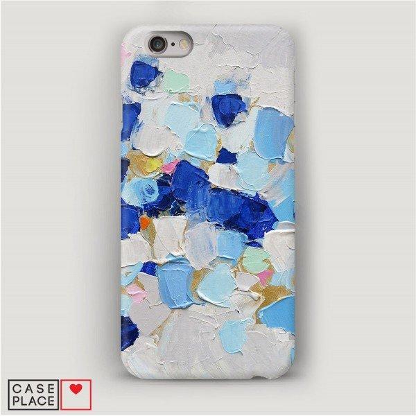 Чехол для iPhone 6 Холст сине-белый.