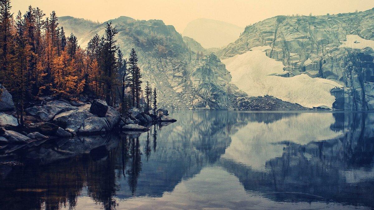 «Горный утес, ледник, озеро и лес скачать Full HD обои ...