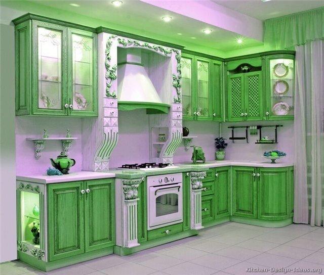 Зеленый цвет в интерьере.