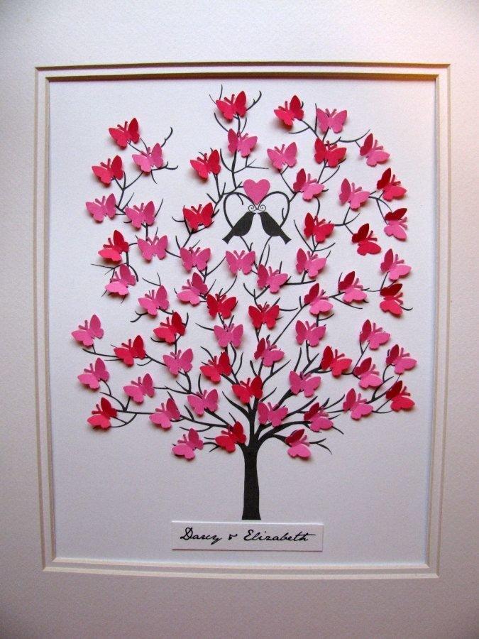 Днем рождения, открытка дерево с сердечками своими руками