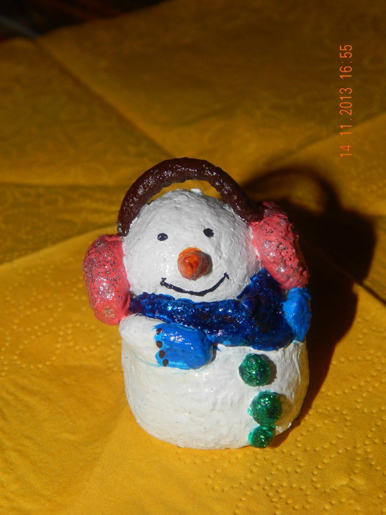 снеговик из соленого теста на елку
