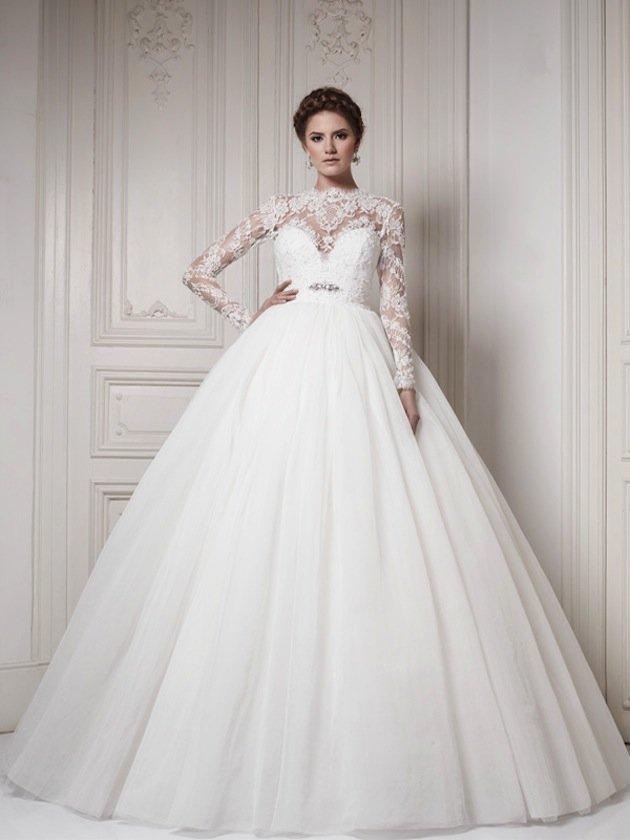 5d985dc43c0 ... Пышные кружевные свадебные платья с рукавами фото