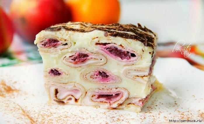 Блинный торт с заварным кремом фото