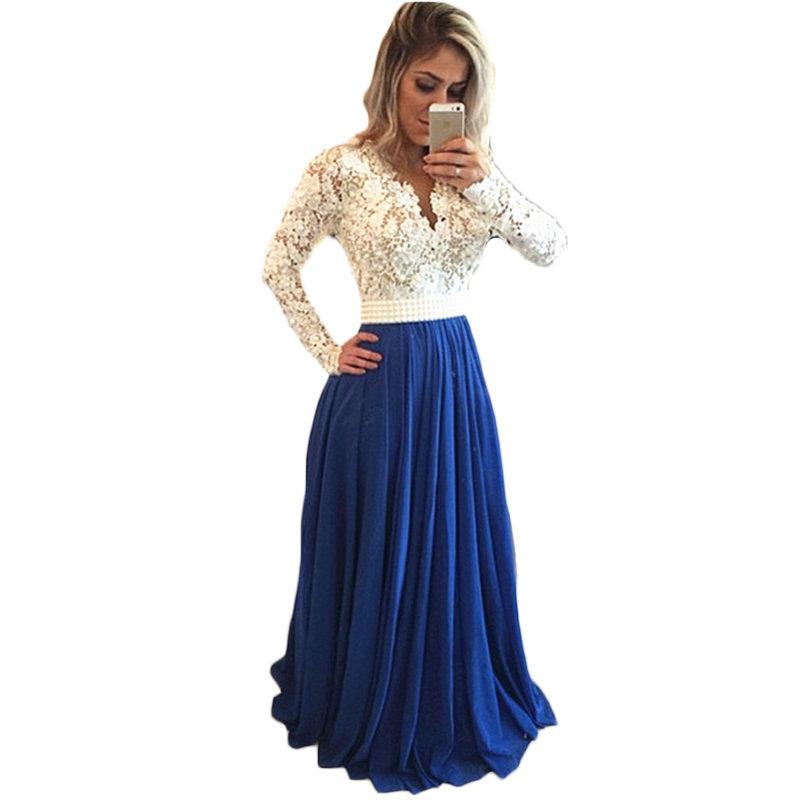 Бело-синее нарядное платье