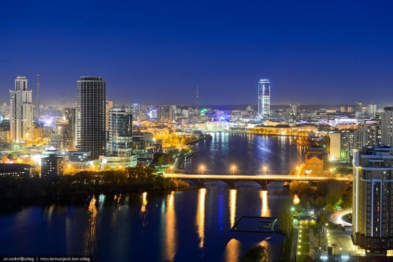 Огни ночного Екатеринбурга