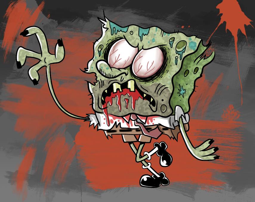 Картинки прикольные зомби, шаблон открытки