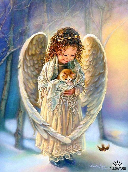 Ночи, картинка с днем рождения с ангелочком