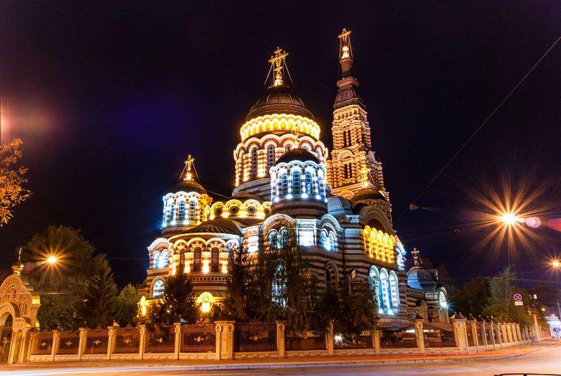 Харьковский Свято-Благовещенский собор в Украине - единственный в мире православный храм в византийском стиле.